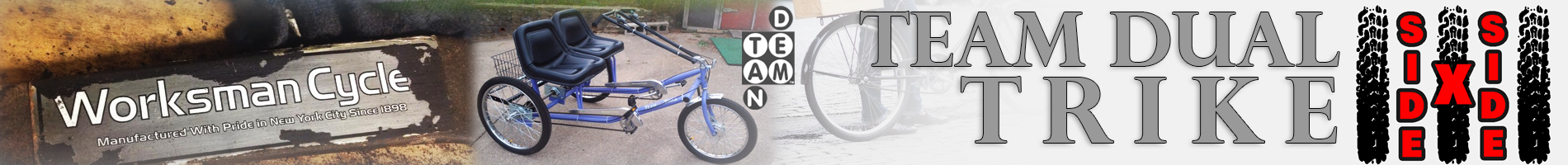 Side By Side Team Dual Tricycle From Worksman Cycles